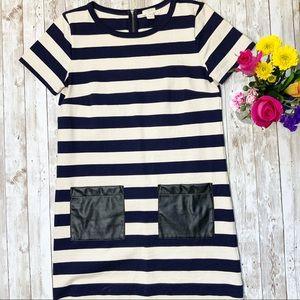 J. CREW Blue Striped Faux Leather Pocket Dress